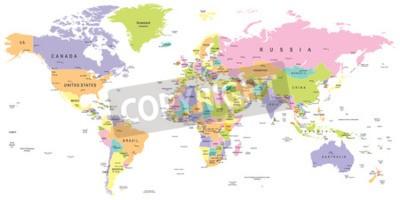 Fotomural Mapa mundial coloreado - fronteras, países y ciudades - ilustración