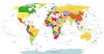 Fotomural Mapa político altamente detallado del mundo aislado en blanco