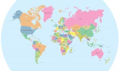 Fotomural Mapa político con color del vector del mundo