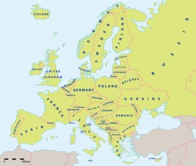 Fotomural Mapa político de Europa en el año 2015 con las etiquetas y la escala del mapa. Nuevas fronteras de Ucrania y Rusia en la península de Crimea. Todos los datos están en capas para facilitar la edición d
