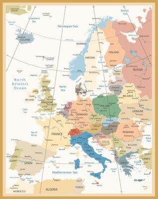 Fotomural Mapa político de los colores retro de Europa