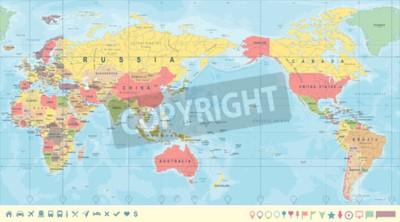 Fotomural Mapa político del mundo de la vendimia centrado en el Pacífico - vector.