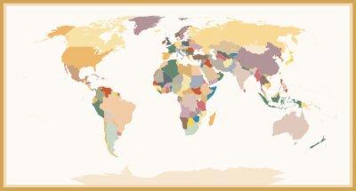 Fotomural Mapa político detallado de los ciervos detallado Colores del vintage