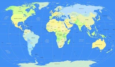 Fotomural Mapa político detallado del mundo del vector