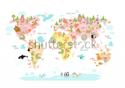 Fotomural Mapa vectorial del mundo con animales de dibujos animados para niños. Europa, Asia, América del Sur, América del Norte, Australia, África. Leon, cocodrilo, canguro. koala, ballena, oso, elefante, tibu