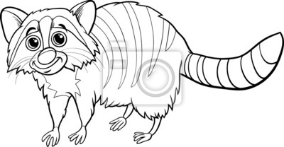Mapache Animales De Dibujos Animados De Libro Para Colorear