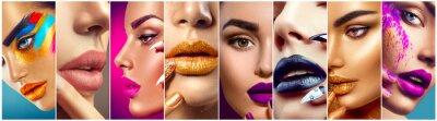 Fotomural Maquillaje collage. Belleza maquillaje ideas. Coloridos labios, ojos, sombras y arte de uñas