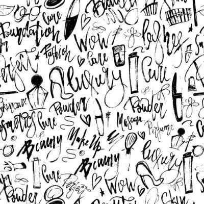 Fotomural Maquillaje patrón transparente grunge con artículos de belleza y letras a mano alzada para su promoción.