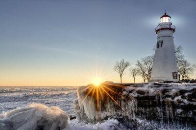 Fotomural Marblehead Lighthouse Winter Sunrise
