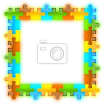 Marco del rompecabezas del color, brillante, brillante y llamativo ...