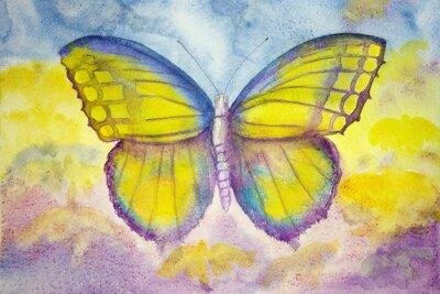Fotomural Mariposa amarilla y azul. La técnica de pinchado da un efecto de enfoque suave debido a la rugosidad superficial alterada del papel.