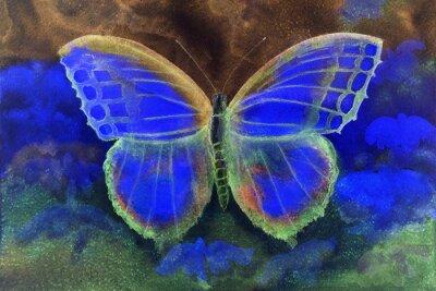 Fotomural Mariposa en un mundo de fantasía. La técnica de pinchado da un efecto de enfoque suave debido a la rugosidad superficial alterada del papel.