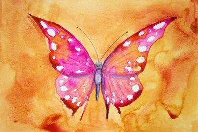 Fotomural Mariposa rosa con fondo naranja. La técnica de pinchado da un efecto de enfoque suave debido a la rugosidad superficial alterada del papel.