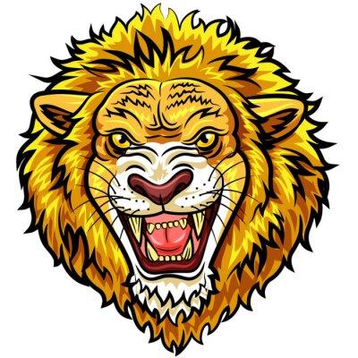 Fotomural Mascota enojada del león de la cabeza de la historieta