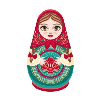 Fotomural Matryoshka. Muñeca de madera popular rusa. Muñeca babushka Ilustración vectorial sobre fondo blanco