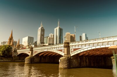 Fotomural Melbourne, Victoria, Australia. Horizonte de la ciudad hermosa