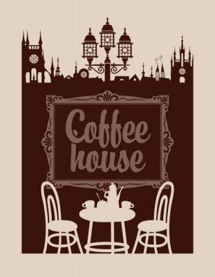 Fotomural Menú para cafetería con marco y el casco antiguo