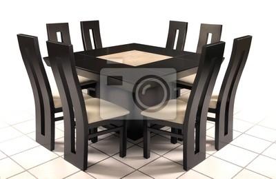 Fotomural: Mesa comedor de madera y marmol.