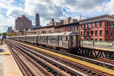 Fotomural Metro oberirdische en Manhattan, Nueva York