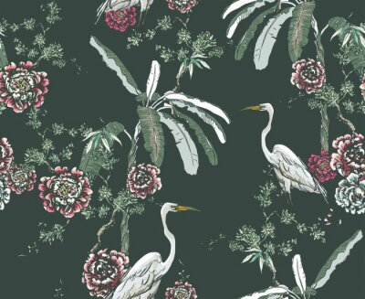 Fotomural Midnight Chinoiserie Floral Seamless Pattern, White Cranes in Palms and Roses on Dark Background, Chinese Wallpaper Design Flower Plants Jungle Forest, Tropical Birds