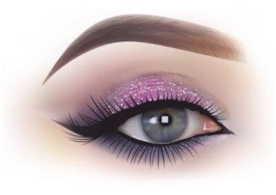 Fotomural Moda mujer maquillaje de ojos - detallada ilustración realista, Vector
