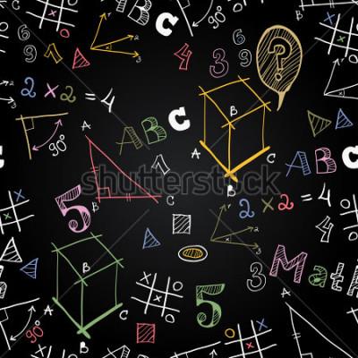 Fotomural Modelo aislado de la escuela de la pizarra del vector. De vuelta a la escuela. Cuadros divertidos con tiza en una pizarra. Iconos de la educación y la vida escolar.