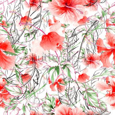 Fotomural Modelo de flor de la rosa del Wildflower en un estilo de la acuarela. Nombre completo de la planta: rosa, rosa, hulthemia. Flor salvaje de la acuarela para el fondo, la textura, el modelo de la envolt