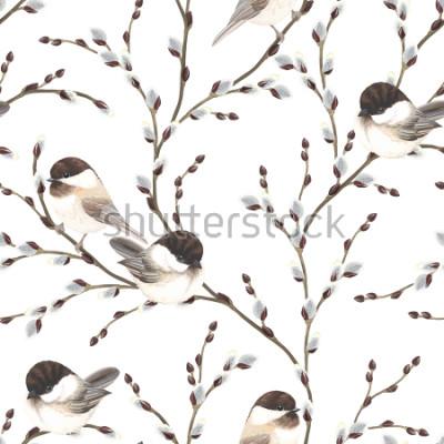 Fotomural Modelo de las ramas y de los pájaros Chickadee Black-capped del sauce, ejemplo del vector en el fondo blanco en estilo de la acuarela del vintage.