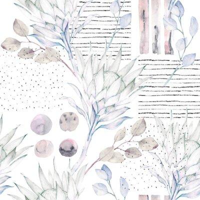 Fotomural Modelo floral sin fisuras. Ilustración abstracta de la acuarela. Fondo de grunge