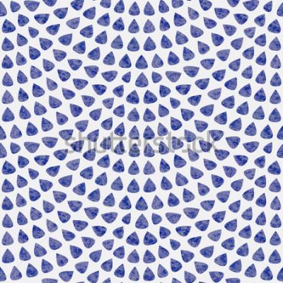 Fotomural Modelo frecuentemente del vector con el diseño de la escala de peces. Elementos en forma de gota azul con textura de acuarela sobre fondo gris claro