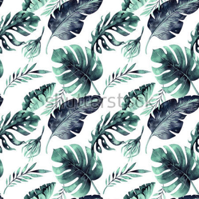 Fotomural Modelo inconsútil de la acuarela de hojas tropicales, selva densa. Hoja de palma pintada a mano. La textura con verano tropical se puede utilizar como diseño de fondo, papel de regalo, textil o papel