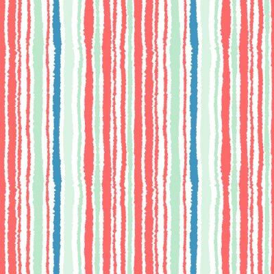 Fotomural Modelo inconsútil de la tira. Líneas verticales con efecto de papel rasgado. Triturar el fondo del borde. Colores fríos, suaves, verdes, azules, rojos, blancos. Invierno tema. Vector