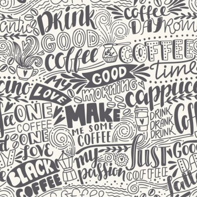 Fotomural Modelo inconsútil del café de las letras con citas. Dibujado a mano ilustración vectorial