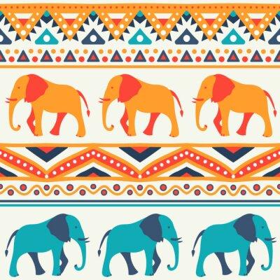 Fotomural Modelo inconsútil del vector animal de elefante