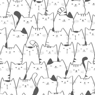 Fotomural Modelo inconsútil del vector con los gatos lindos. Doodle el arte. Fondo dibujado mano inconsútil del gato