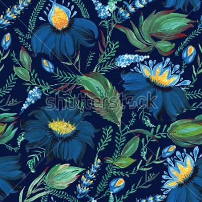 Fotomural Modelo inconsútil floral abstracto en el estilo popular ucraniano Petrykivka de la pintura. Dibujado a mano flores de fantasía, hojas, ramas sobre un fondo azul añil oscuro. Alfombra, relleno de págin