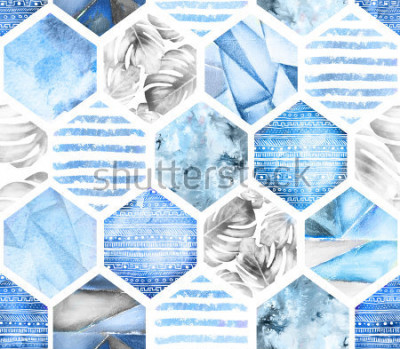 Fotomural Modelo inconsútil geométrico azul en el fondo blanco. Abstracto acuarela hexagonal con hojas monstera, rayas. textura grunge Pintado a mano ilustración de verano. Estilo marino
