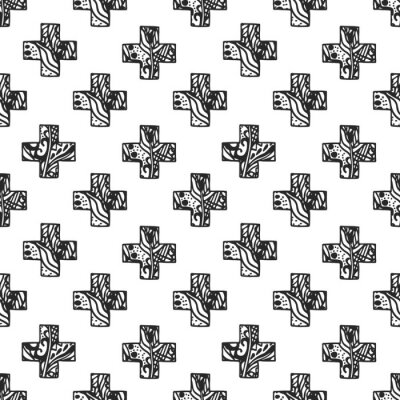 Fotomural Modelo minimalista escandinavo de la cruz del estilo con textura redonda a cielo abierto. Diseño blanco y negro de la impresión de la tela de la geometría.