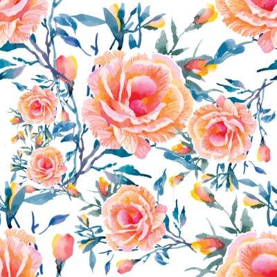 Fotomural Modelos inconsútiles con hermosas flores, ejemplo de la acuarela
