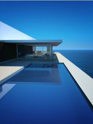 Fotomural Modern Luxury Loft / Apartamento con vistas al mar + Infinity Pool