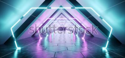 Fotomural Moderno futurista extraterrestre Reflexivo Pasillo concreto Túnel Habitación vacía con luces de neón púrpura y azul Fondo iluminado Hexágono Piso Representación 3D Ilustración