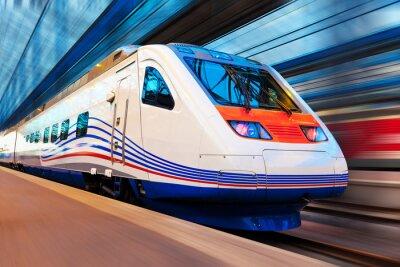 Fotomural Moderno tren de alta velocidad con el desenfoque de movimiento
