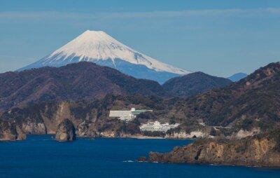 Fotomural Montaña Fuji y el mar de la ciudad de Izu Prefectura de Shizuoka, Japón.