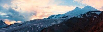 Fotomural Montaña puesta de sol panorama de invierno