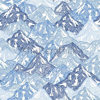 Fotomural Montañas de patrones sin dificultades. Ilustración abstracta de las montañas de la diversión. Ilustración vectorial