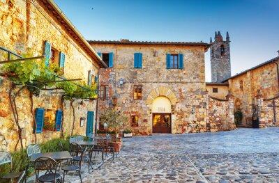 Fotomural Monteriggioni plaza de la ciudad histórica antigua, Italia.