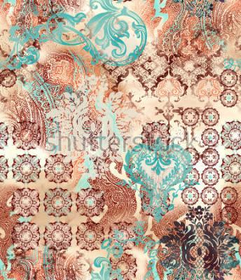 Fotomural motivos geométricos étnicos sobre fondo abstracto