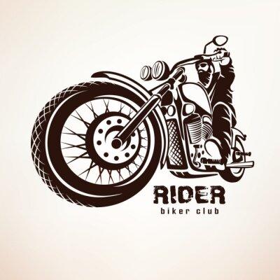 Fotomural Motociclista, moto grunge vector silueta