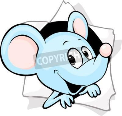 Fotomural Mouse que mira desde un agujero en un papel