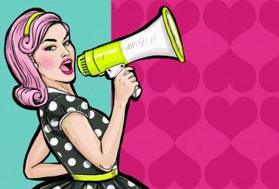 Fotomural Muchacha del arte pop con megáfono.